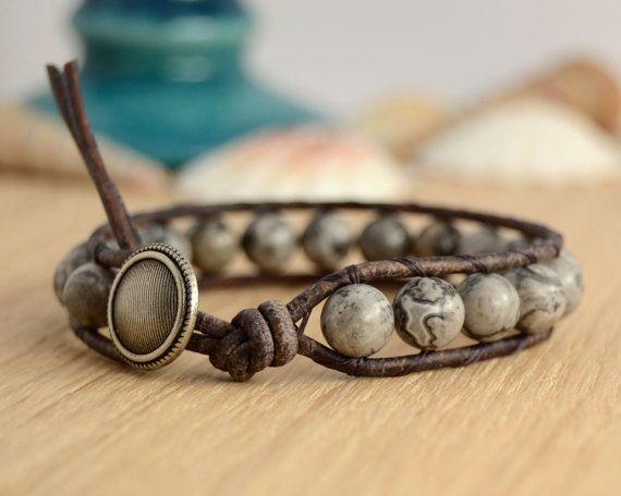 Beaded gemstone single wrap bracelet. Shades of by SinonaDesign, €22.00