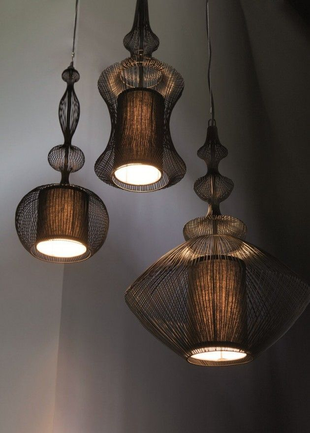 Forestier Paris has created a collection of table lamps and pendant lights called Fil de fer.