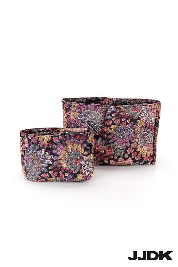 JJDK Pavoni cosmetic bags, peacock pattern,
