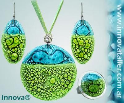 bisuteria artesanal de cristal joyas y bijou en vitrofusion - vidrio vidrio,cuero,piedras semipreciosa vitrofusion,cuero