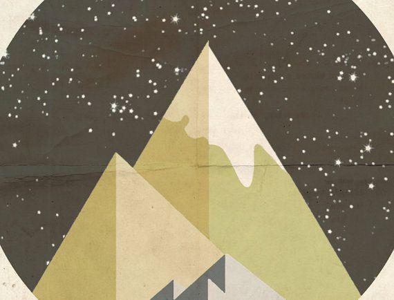 Nightlife Mountains Minimalistic Folk Art by LeafHouseStudio