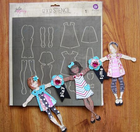 New Prima stencil - make Julie Nutting dolls movable/poseable. Link to video with Julie