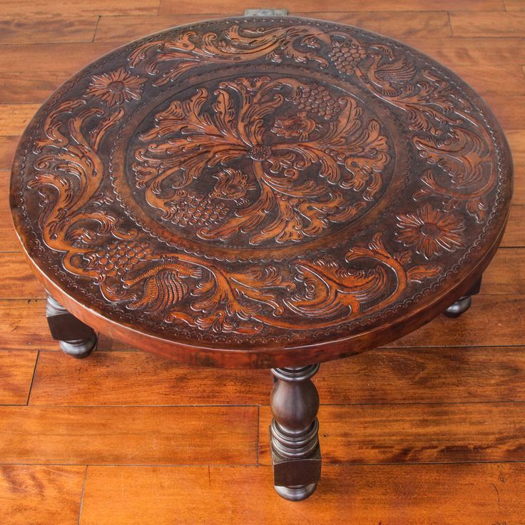 Tooled Leather Round Wood Coffee Table 31 Inch Diameter - Vineyard Birds | NOVICA