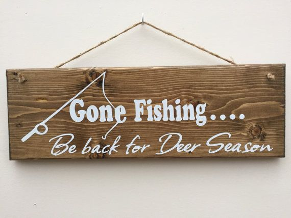 Gone Fishing Sign Rustic Wood Sign Home Decor by SignsByChad