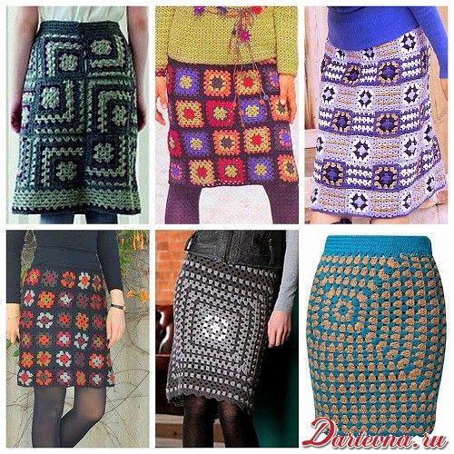 Вязаная юбка крючком из бабушкиных квадратов : схемы и идеи для вязания