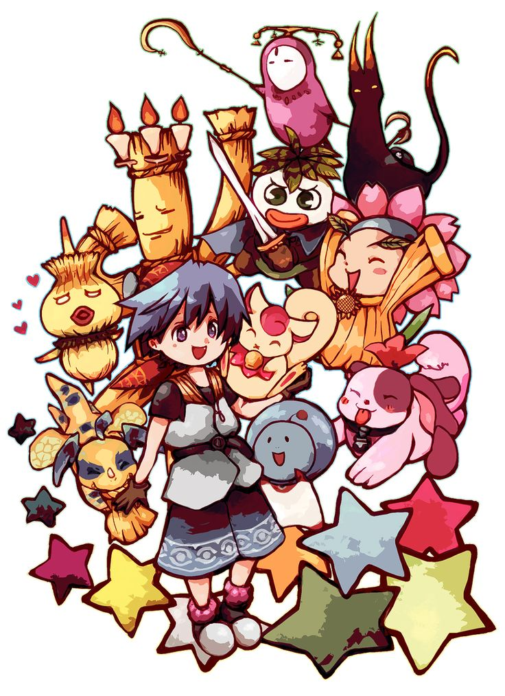 The critters of Chrono Cross, along with Serge.