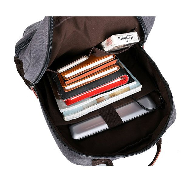Canvas Travel Backpack Casual Big Capacity Bag With USB Socket Laptop Compartmen - US$46.35