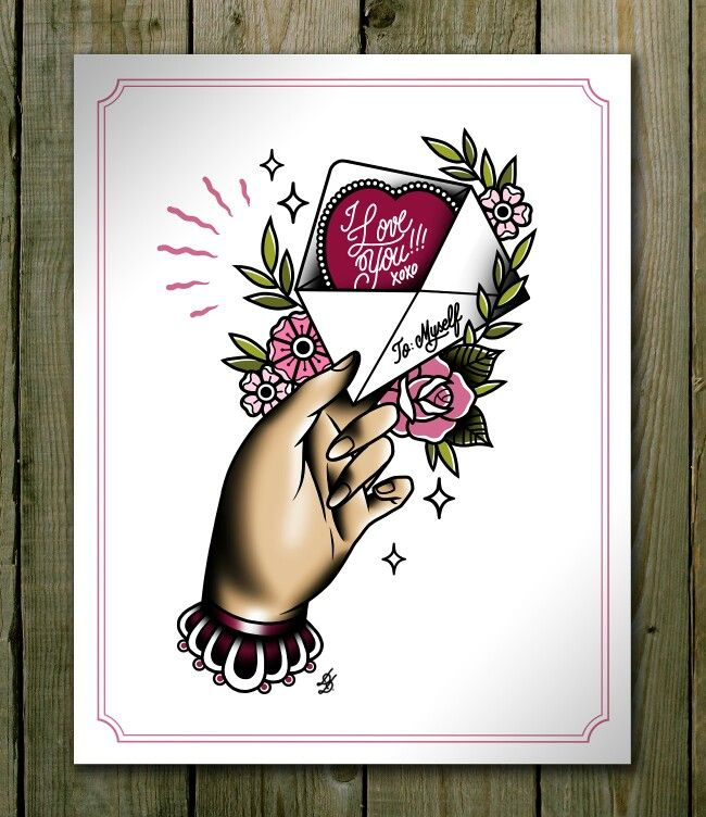 Hand with a Letter Traditional Tattoo Print Tattoo Flash Valentine's Day Idea Digital Illustration I Love You