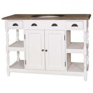 Waschtisch weiß Massivholz, Landhaus Waschtisch weiß mit drei Schubladen