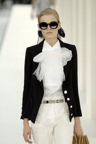 chanel classy, timeless, white pants and top with dark jacket