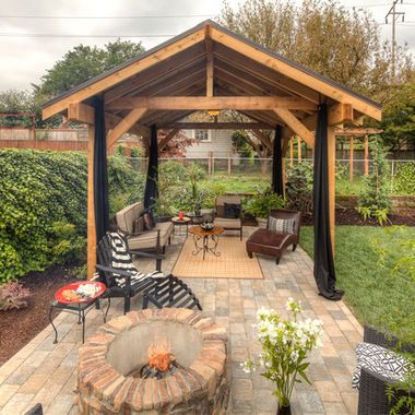 pavilion fire pit | Covered outdoor pavilion, covered structure, fire pit, paver patio ...
