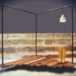 ITS IN THE CORNER INDUSTRIAL PIPE GARMENT RACK - industrial - clothes racks - Oilfield Slang/Stella Bleu Designs