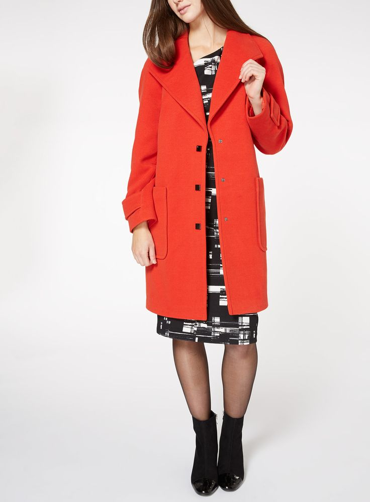 Brighten your winter smart-casual wardrobe with this stylish red coat. Cut to a longer length, it showcases an elegant exaggerated collar, silver-toned square snap fastenings and two oversized patch pockets. Ideal for layering your formal edits. Red exaggerated collar coat Silver-toned square snap fastening Two patch pockets Longer length Exaggerated collar Relaxed fit Model's height is 5'9'' Model wears a size 12
