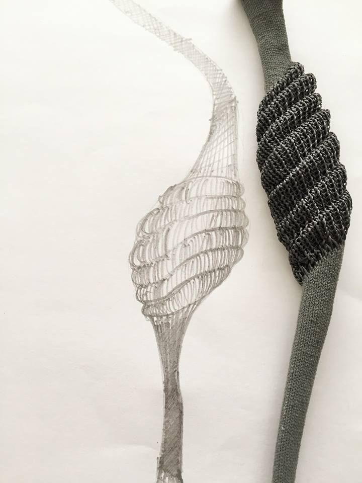 """""""Architextile  necklace(detail) by Frederique coomans. silver, cooper."""