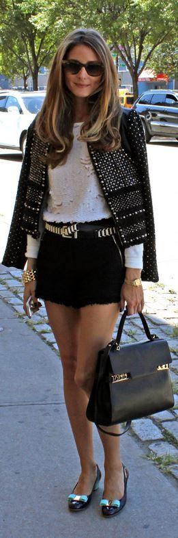 Olivia Palermo: Jacket and shorts – Rebecca Taylor  Sunglasses – Ray Ban  Shirt – Witchery  Belt – Zara  Shoes – Salvatore Ferragamo  Purse – Delvau