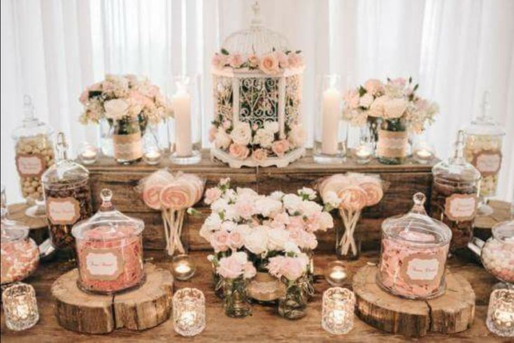 This beautiful candy buffet would be the perfect addition to a shabby chic rustic country wedding