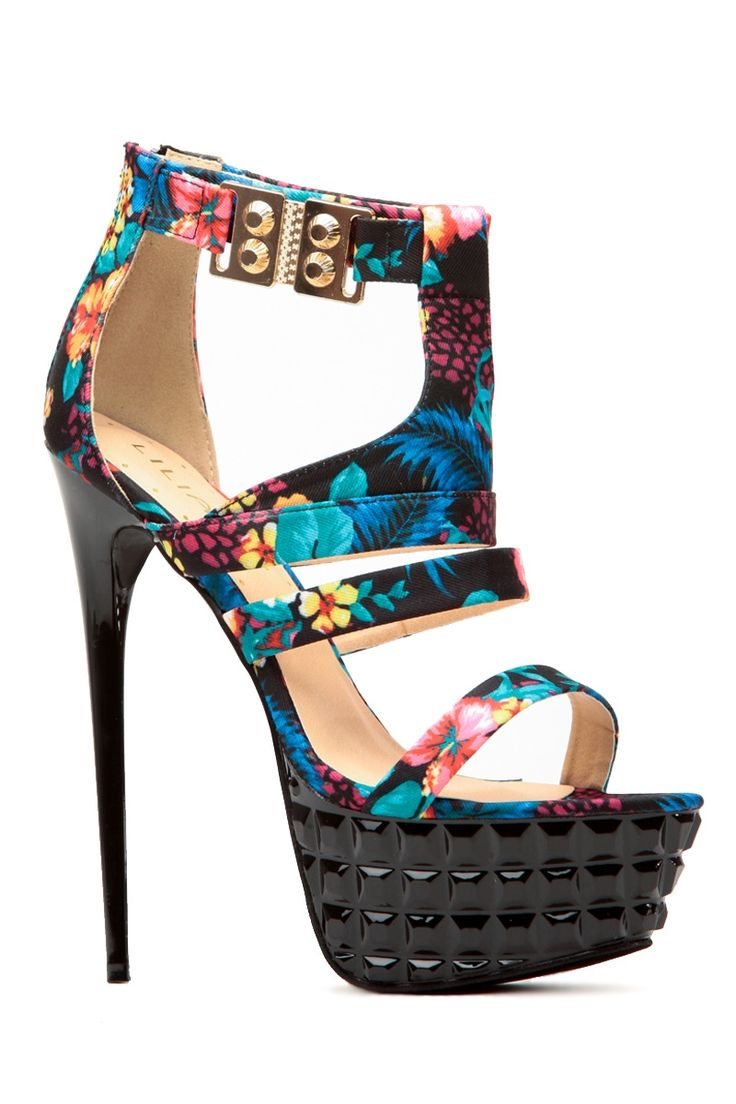 Floral Print Studded Platform Heels @ Cicihot Heel Shoes online store sales:Stiletto Heel Shoes,High Heel Pumps,Womens High Heel Shoes,Prom Shoes,Summer Shoes,Spring Shoes,Spool Heel,Womens Dress Shoes