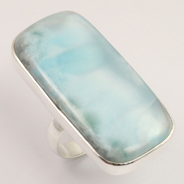 Men's Fashion Ring Size US 9 Natural LARIMAR Long Gemstone 925 Sterling Silver #Unbranded