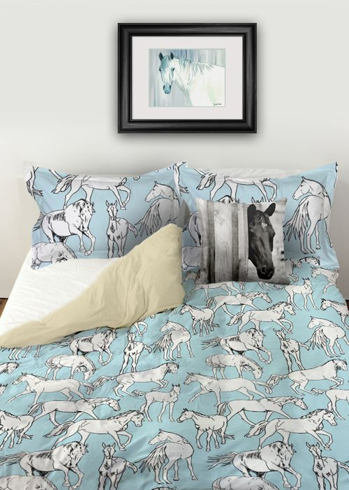 Equestrian themed horse duvet bedding cover set featuring a fun, blue and white colored pattern of galloping and trotting horses, foals, and ponies all over.