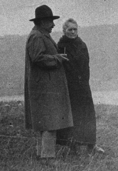 Marie Curie (1867-1934) with Albert Einstein (1879-1955). Can you imagine the conversation?