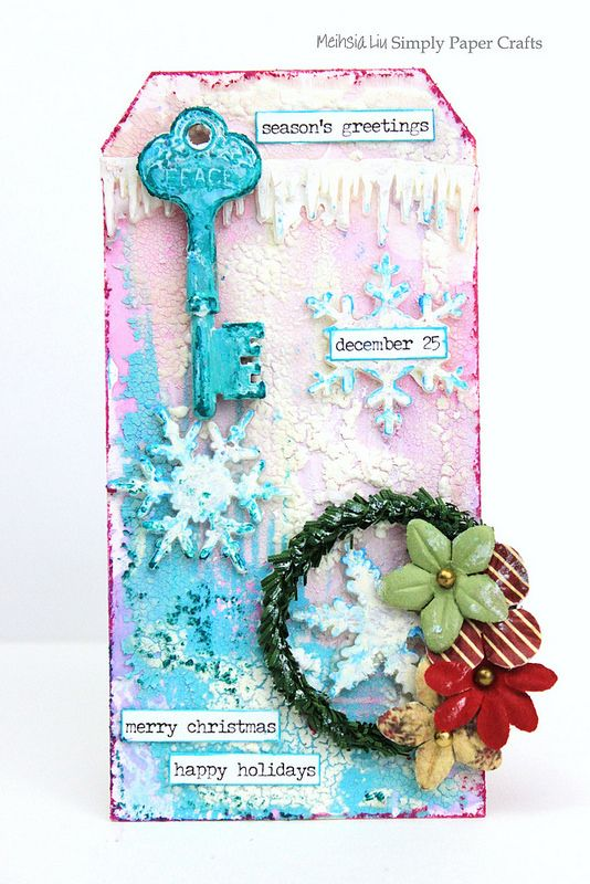 Meihsia Liu Simply Paper Crafts mixed media tag Christmas snow Simon Says Stamp Tim Holtz 1