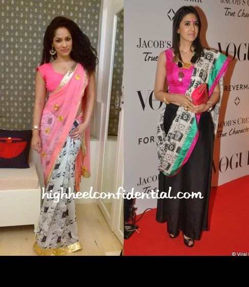 Love the gorgeous hot pink meets coral masaba wears to the vogue-5th-anniversary-bash