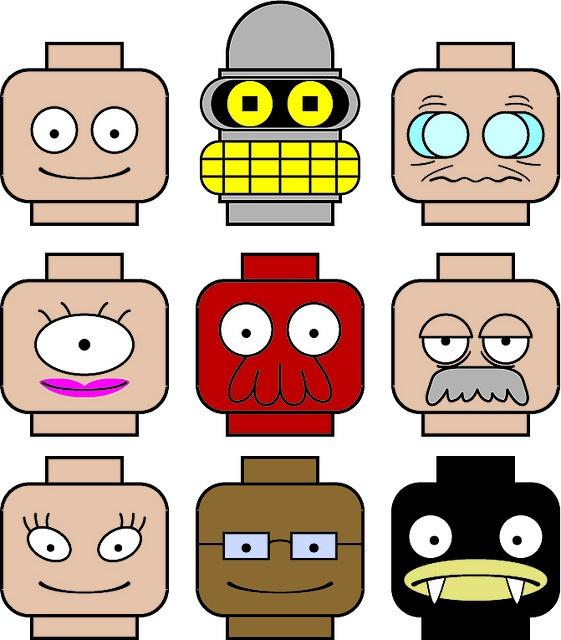 Futurama lego heads