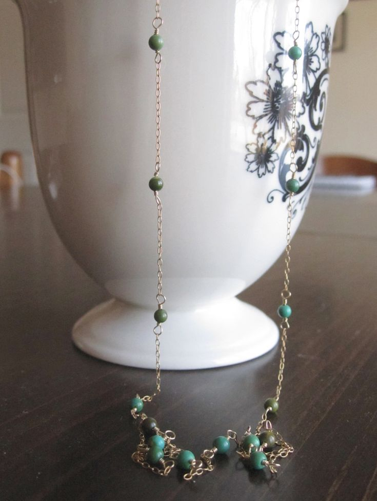 A little pop of green as you prep for Spring.    Wire Wrapped Turquoise Necklace on Dainty Thin Gold Chain. $65.00, via Etsy.