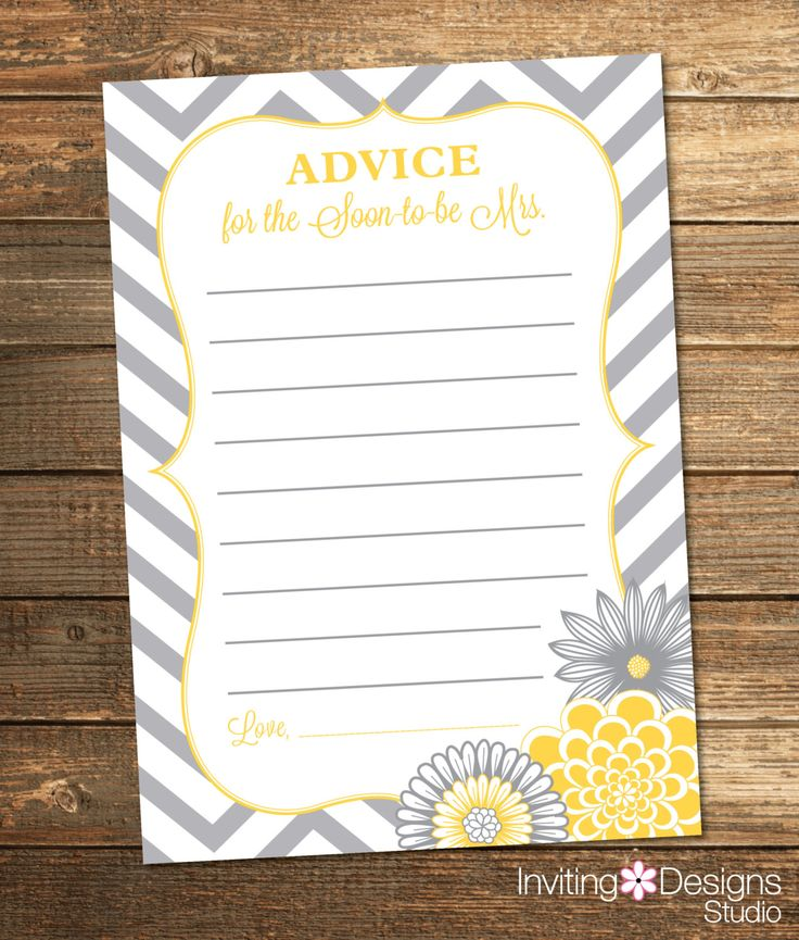 Chevron Bridal Shower Advice Card / Wedding Shower / Yellow and Gray Flowers / PRINTABLE FILE by InvitingDesignStudio on Etsy