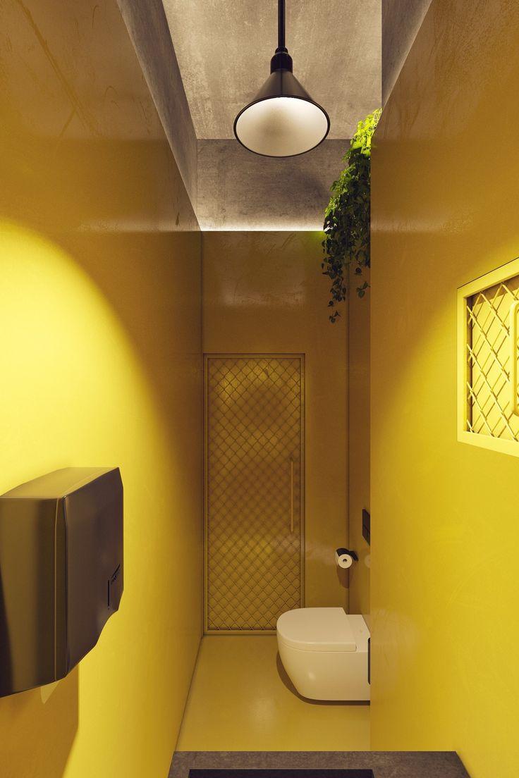 Стены, пол, двери и частично потолок санузлов  дизайнеры выкрасили в желтый цвет. Это добавило интерьеру жизнерадостности.