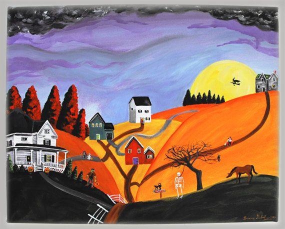 """Hilly Haunting"" Original 16x20 Halloween Folk Art Acrylic Painting by treehugginlovin"