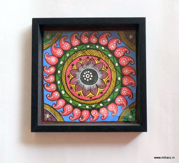 "Patachitra Tray , 9""x 9"" From Miharu Designs"
