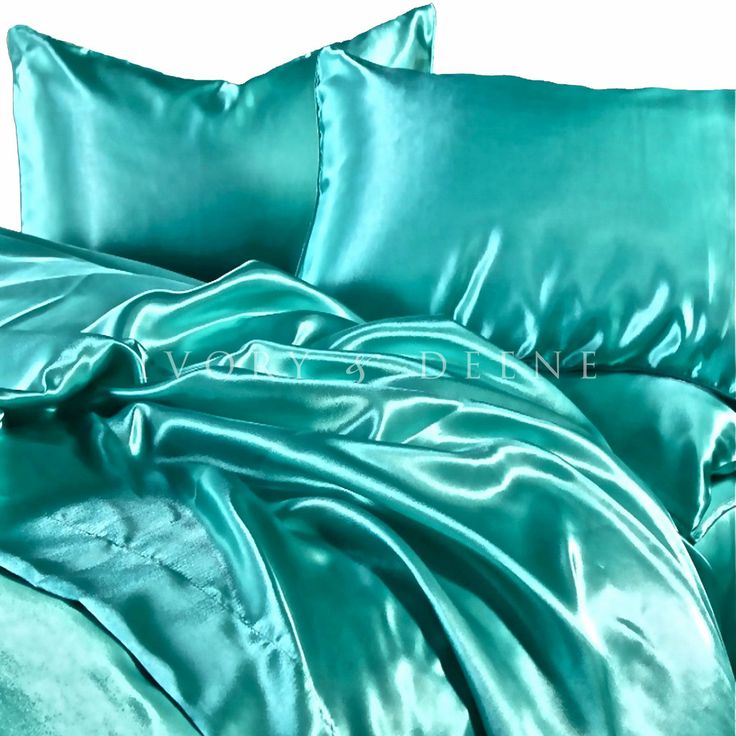 Luxury Queen Size Satin Bed Sheet Set Turquoise Silk Feel Hotel ...