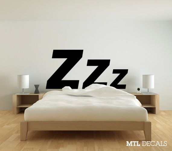 zzz bedroom wall decal 61 x 29 wall sticker wall by mtldecals