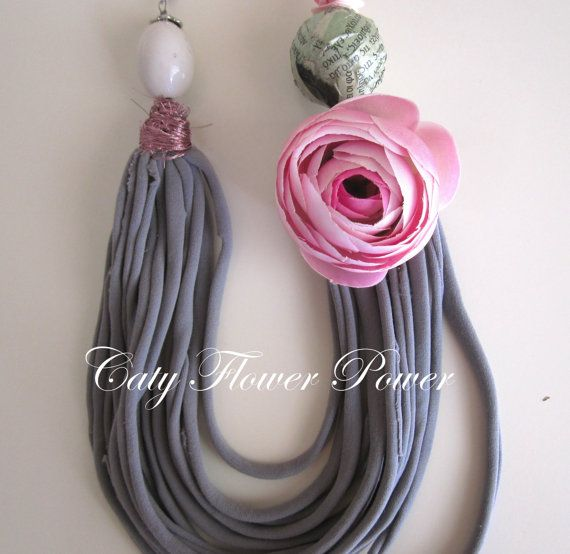 Grey Fabric Necklace Pink Flower Necklace Boho by catyflowerpower, $30.00