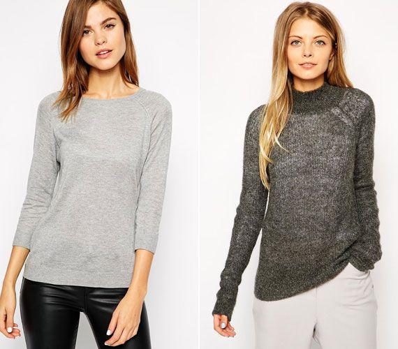 A szürke pulóver lehet bármilyen, a lényeg a szín és a kötött anyag.