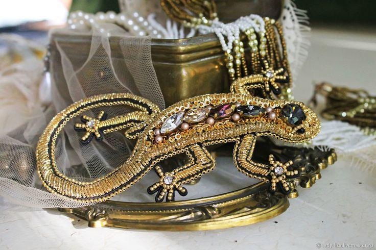 Купить Золотая вышитая брошь из бисера Ящерица - леди лиза, леди лиза украшения