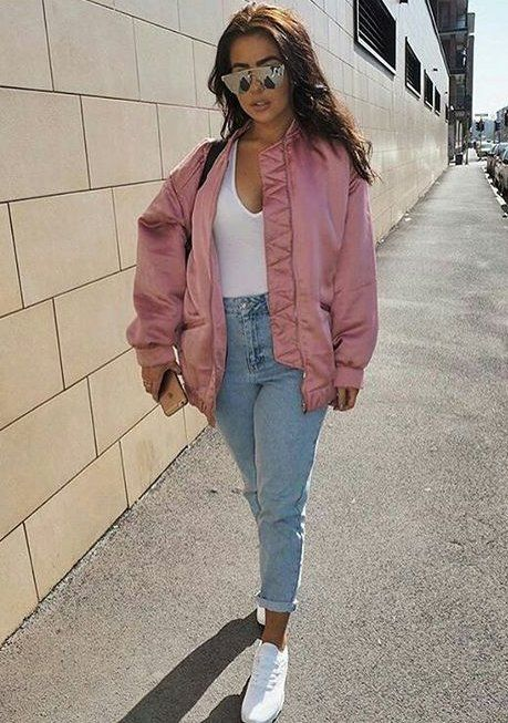 Pink oversize bomber for trendy lookbook