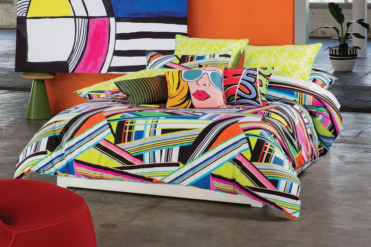 Don't settle for dull! The Beleno Duvet Cover Set by Kas definitely catches the eye with a funky, urban cool print displayed in a melting pot of bright, vibrant colours.