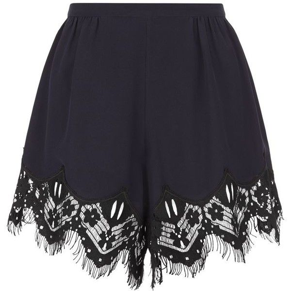 Chloé Lace Trim Crepe Shorts found on Polyvore featuring shorts, bottoms, pants, tailored shorts, lace-trim shorts, chloe shorts and pleated shorts
