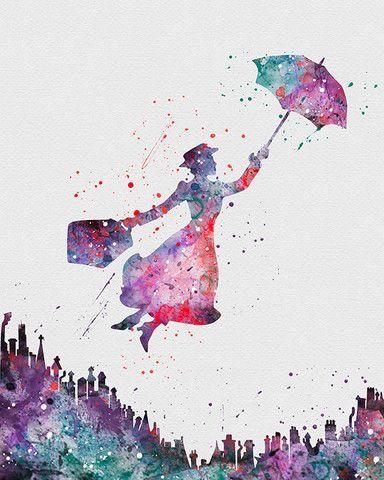 Mary Poppins 1 Watercolor Art - VividEditions                                                                                                                                                                                 More