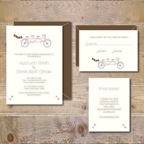 Printable Wedding Invitations . DIY Wedding Invitations . Invitation File . Wedding Invitations . Tandem Bike .  PDF  - A Bike For Two
