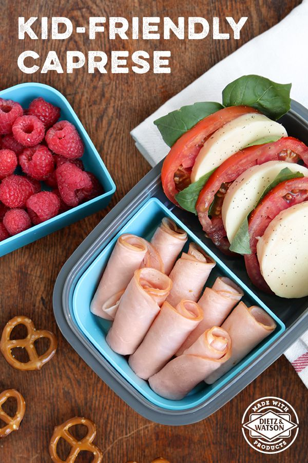 Lunchbox friendly Caprese is easy prep for parents, and loved by kids. Start by slicing tomato, then layer Dietz & Watson Mozzarella, basil, and a little olive oil. Pair with some Dietz & Watson Originals Organic Turkey Breast to add protein.