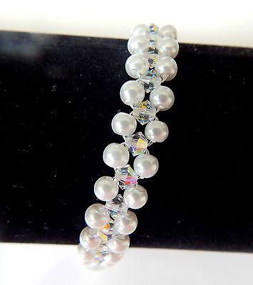 bracelet mariée cristal swarovski blanc et perles nacrées  €15