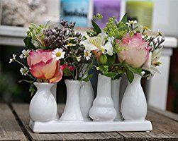 Keramikvasenset Blumenvase Keramikvasen bunt / weiß Vase Blumen Pflanzen Keramik Set Deko Dekoration (9 Sets je 7 Vasen, weiß)