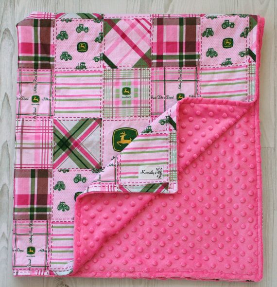 John Deere Pink Patchwork Minky Baby Blanket From Kemaily