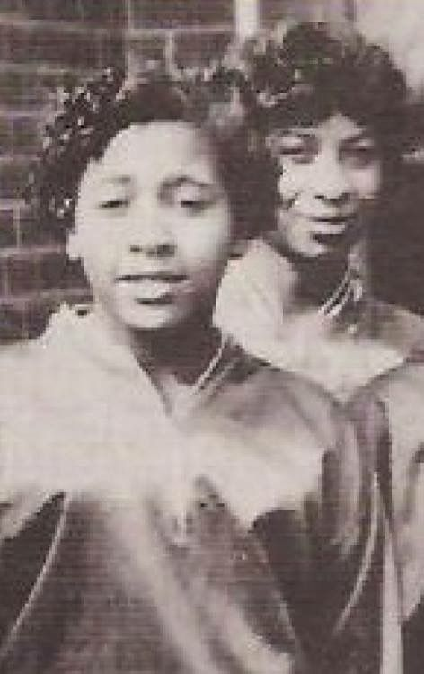 Anna Mae Bullock (Tina Turner) played basketball for Carver High School in Brownsville , Tennessee.  She and a teammate pose for a picture in uniform in 1956.  Source:  Robert Black Facebook Page.