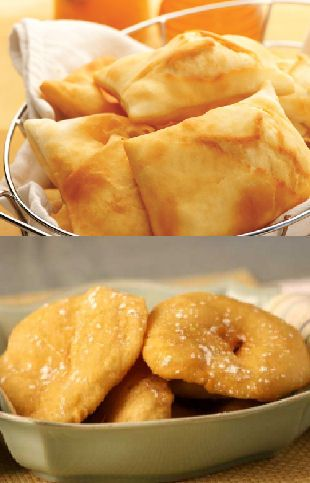 Navajo Fry Bread (Sopapillas) 2 cups all-purpose flour  1 tablespoons baking powder  1 teaspoon salt  1 tablespoon oil  3/4 cup warm water  Oil for frying  1 cup powdered sugar, as optional topping  1 cup honey, as optional topping