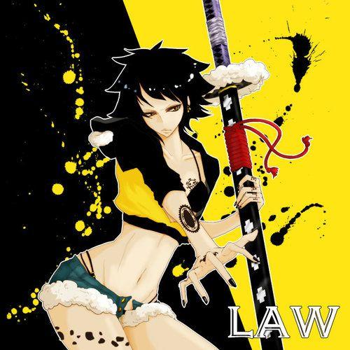 Genderbend swap switch female fem Trafalgar D. Water Law  (Lawko) One piece art yellow