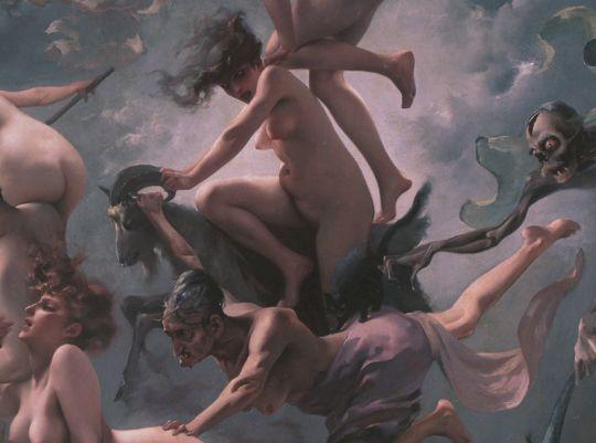 Luis Ricardo Falero     Witches going to their sabbath (1878) details